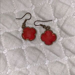 pinkish red earrings